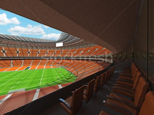 3d визуализации регби стадион оранжевый vip окна Сток-фото © danilo_vuletic