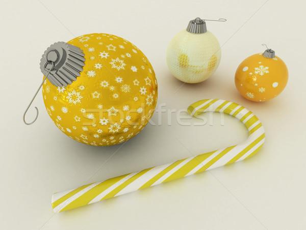 3d визуализации желтый золото праздник украшение конфеты Сток-фото © danilo_vuletic