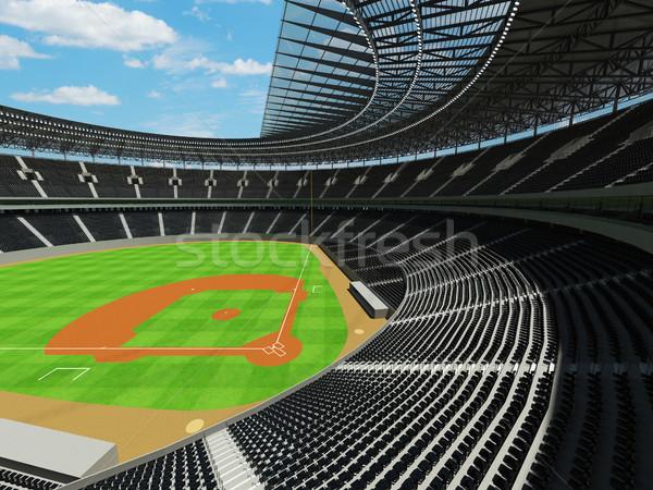 Rendu 3d baseball stade noir vip cases Photo stock © danilo_vuletic