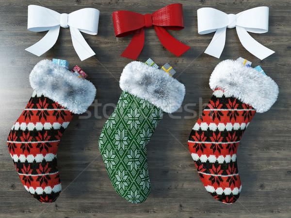 3d render gyönyörű piros zöld karácsony zokni Stock fotó © danilo_vuletic