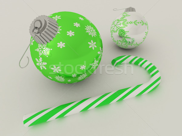 3dのレンダリング 緑 銀 休日 装飾 安物の宝石 ストックフォト © danilo_vuletic