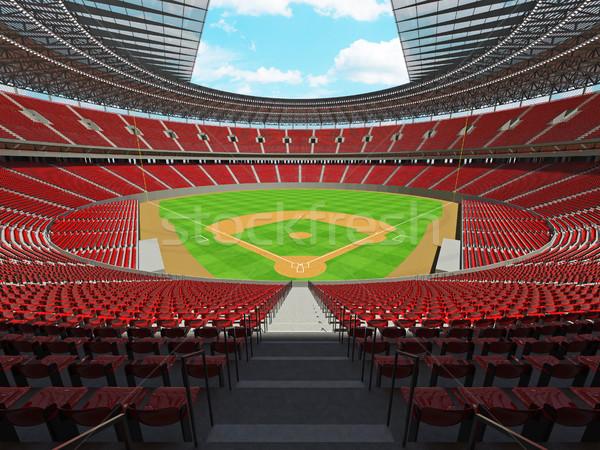 3d render baseball stadion Rood vip dozen Stockfoto © danilo_vuletic