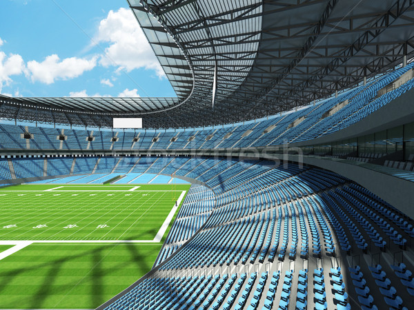 round american football stadium with sky blue seats and VIP boxes for hundred thousand fans Stock photo © danilo_vuletic