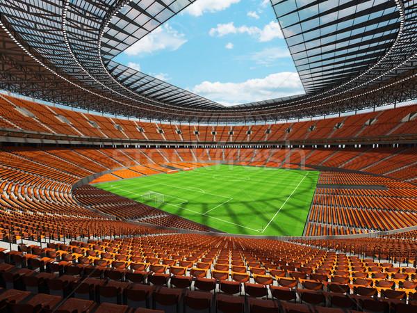 3d render voetbal voetbal stadion oranje vip Stockfoto © danilo_vuletic