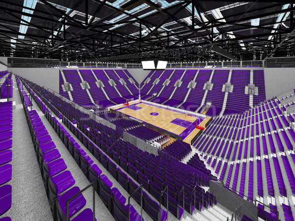 Stock photo: Beautiful modern sports arena for basketball with purple seats and VIP boxes