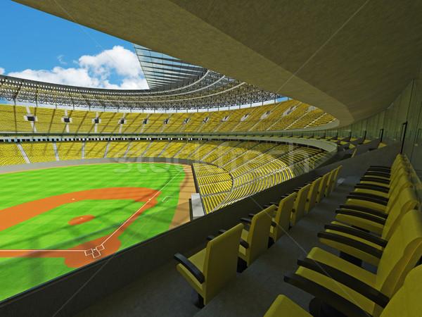 Stock fotó: 3d · render · baseball · stadion · citromsárga · vip · dobozok