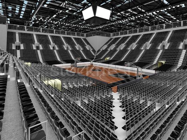 3d render gyönyörű sportok aréna kosárlabda fekete Stock fotó © danilo_vuletic