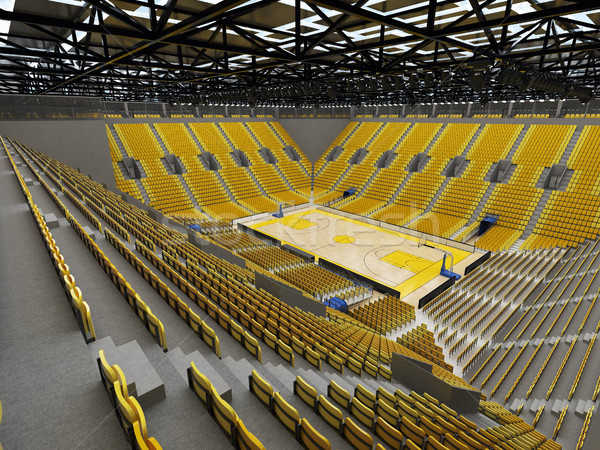 3D render of beautiful sport arena for basketball with bright  yellow seats Stock photo © danilo_vuletic