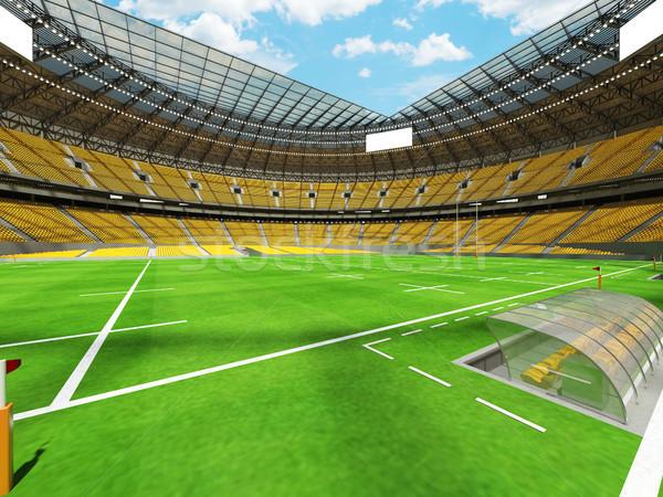 Rendu 3d rugby stade jaune vip cases Photo stock © danilo_vuletic