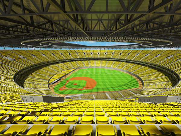 3D render of baseball stadium with yellow seats and VIP boxes Stock photo © danilo_vuletic