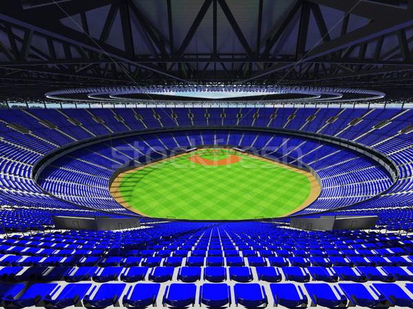 Stock fotó: 3d · render · baseball · stadion · kék · vip · dobozok