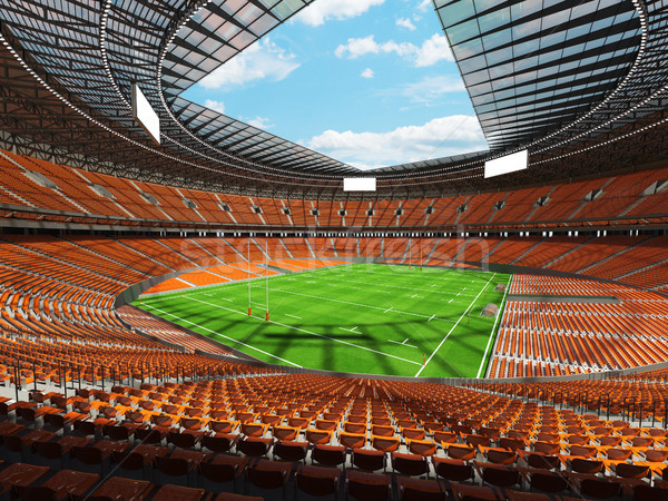 Stock fotó: 3d · render · rögbi · stadion · narancs · vip · doboz