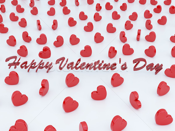 Beautiful romantic Valentine's day greeting gift card with red hearts Stock photo © danilo_vuletic