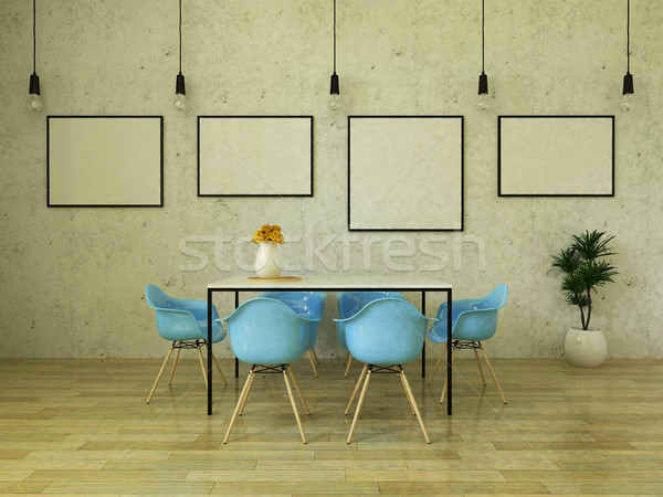 Stock photo: 3D render of beautiful dining table with sky blue chairs