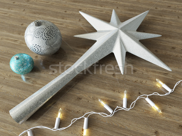 3d render of a frosted star and balls Christmas decoration with white lights on wooden background Stock photo © danilo_vuletic