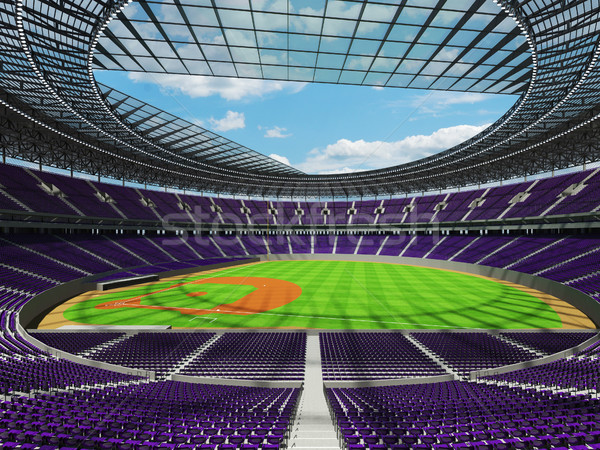 Stock photo: 3D render of baseball stadium with purple seats and VIP boxes