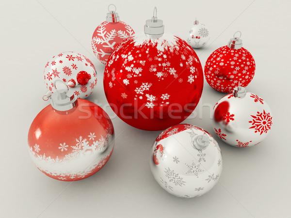 3dのレンダリング 赤 銀 休日 装飾 白 ストックフォト © danilo_vuletic