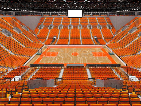 Stock photo: Beautiful modern sports arena for basketball with orange chairs and VIP boxes