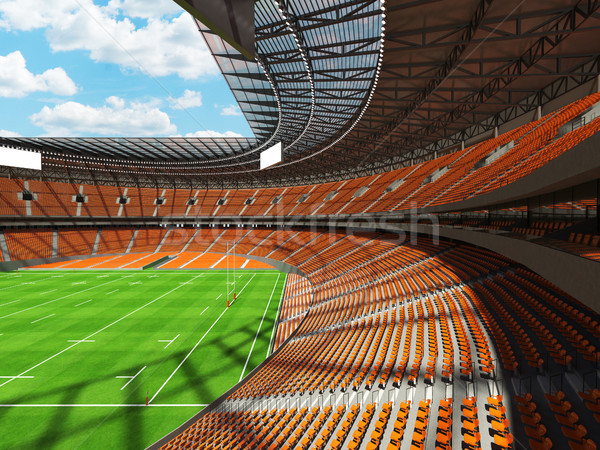 3D render of a round rugby stadium with orange seats and VIP box Stock photo © danilo_vuletic