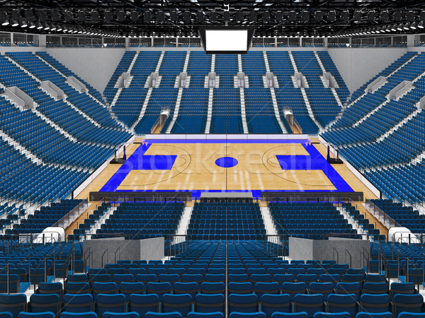 Stock photo: Beautiful sports arena for basketball with gray blue seats and VIP boxes