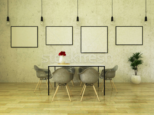 3D render of beautiful dining table with gray chairs Stock photo © danilo_vuletic