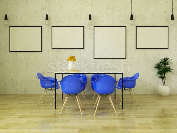 3D render of beautiful dining table with blue chairs Stock photo © danilo_vuletic