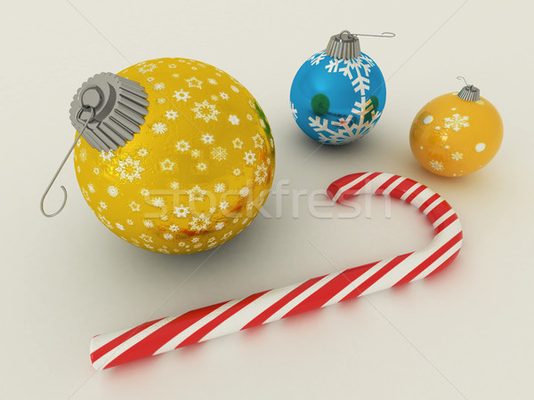 3d render kék arany ünnep dekoráció cukorka Stock fotó © danilo_vuletic