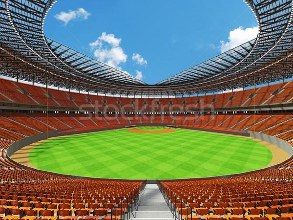 Stock fotó: 3d · render · baseball · stadion · narancs · vip · dobozok