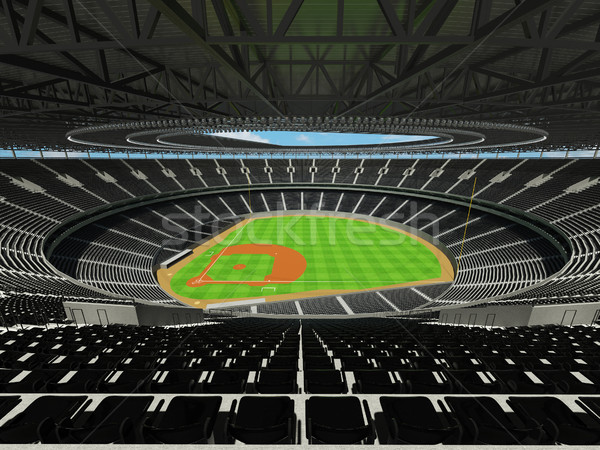 3D render of baseball stadium with black seats and VIP boxes Stock photo © danilo_vuletic