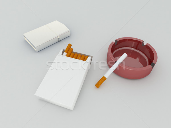 3D render of a white pack of cigarettes, silver lighter and red ashtray on white background Stock photo © danilo_vuletic