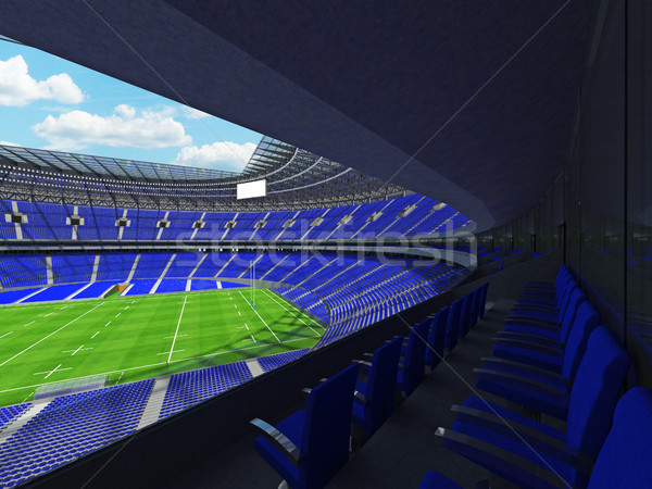 3D render of a round rugby stadium with  blue seats and VIP boxe Stock photo © danilo_vuletic
