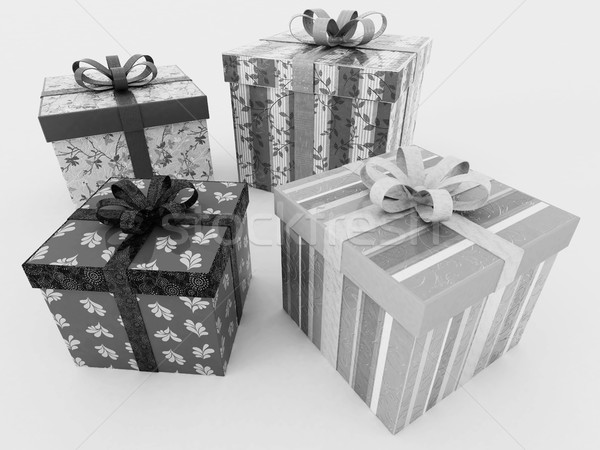 3D render of a black and white wrapped holiday presents with ribbons Stock photo © danilo_vuletic