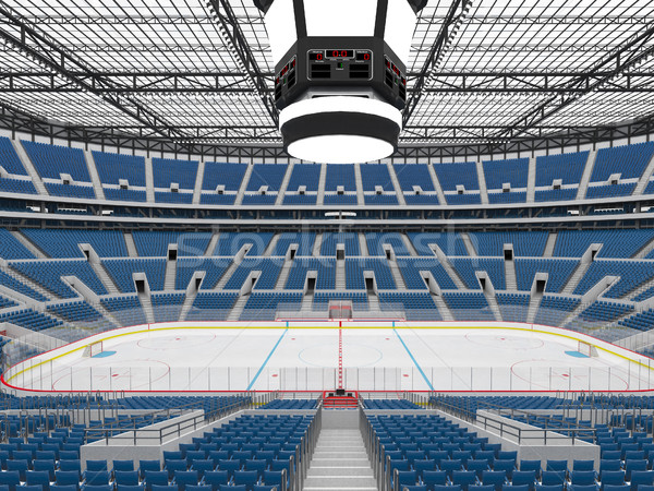 Beautiful sports arena for ice hockey with blue seats  and VIP boxes Stock photo © danilo_vuletic