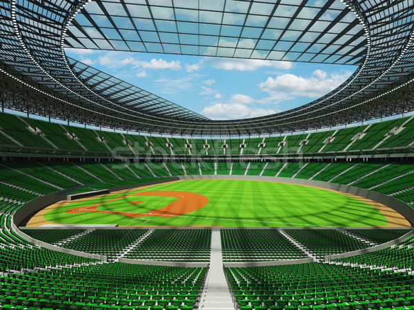 3D render of baseball stadium with green seats and VIP boxes Stock photo © danilo_vuletic