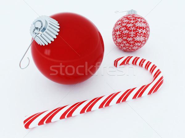 3d render gyönyörű piros ünnep díszítések cukorka Stock fotó © danilo_vuletic