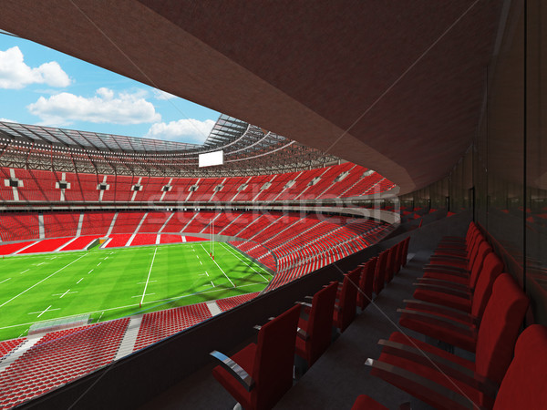 3d render rugby stadion Rood vip dozen Stockfoto © danilo_vuletic