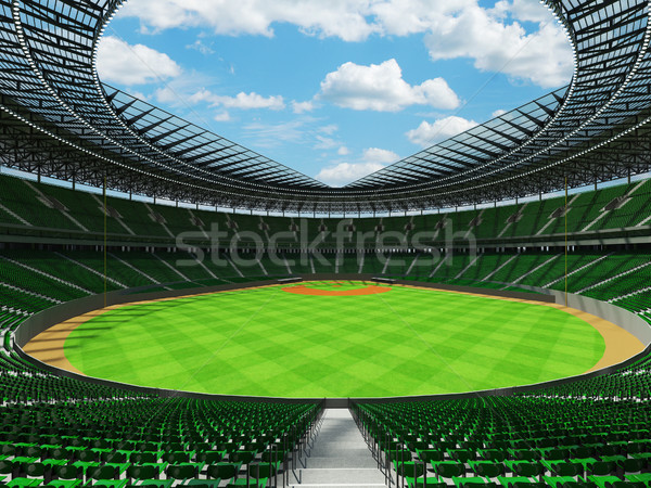 Stock fotó: 3d · render · baseball · stadion · zöld · vip · dobozok