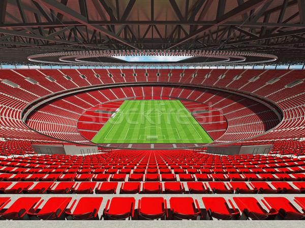3d render voetbal voetbal stadion Rood vip Stockfoto © danilo_vuletic