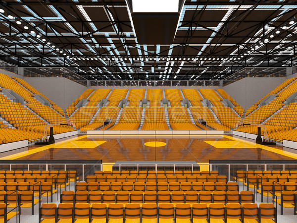 Beautiful sports arena for basketball with yellow seats and VIP boxes Stock photo © danilo_vuletic
