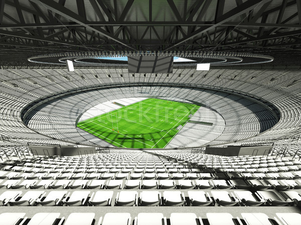 3D render of a round rugby stadium with  white seats and VIP box Stock photo © danilo_vuletic
