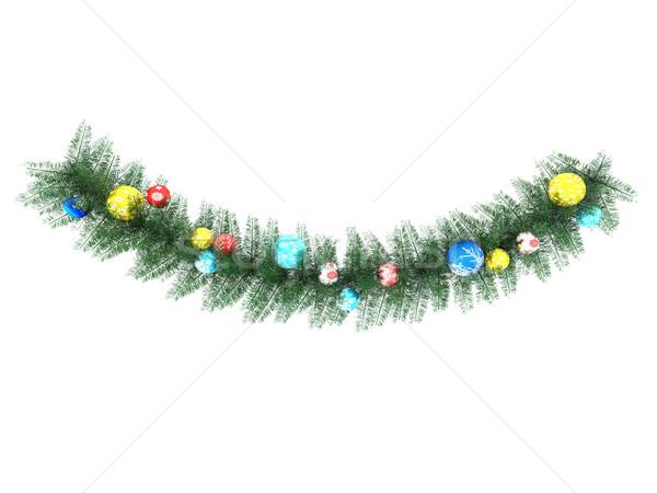 3d визуализации красивой праздник украшения венок белый Сток-фото © danilo_vuletic