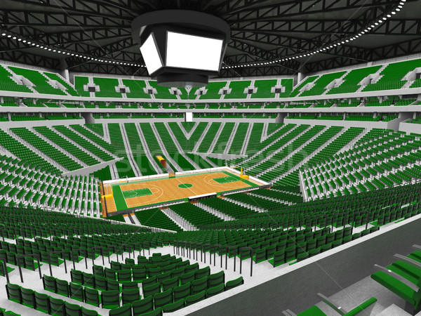 Beautiful modern sport arena for basketball with green seats Stock photo © danilo_vuletic