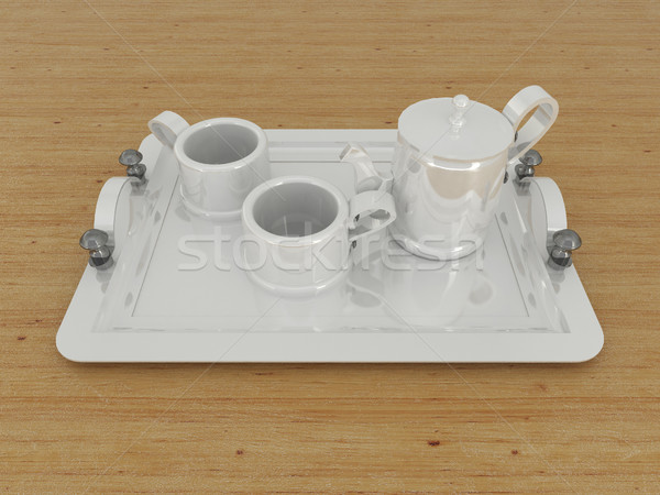 3D render of a porcelain teacup with cups on a wooden surface Stock photo © danilo_vuletic