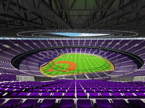 3d визуализации бейсбольной стадион Purple vip коробки Сток-фото © danilo_vuletic