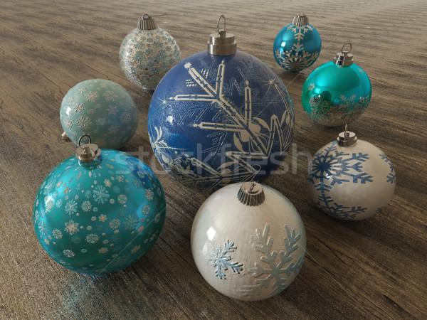 3d render gyönyörű kék fehér ünnep díszítések Stock fotó © danilo_vuletic
