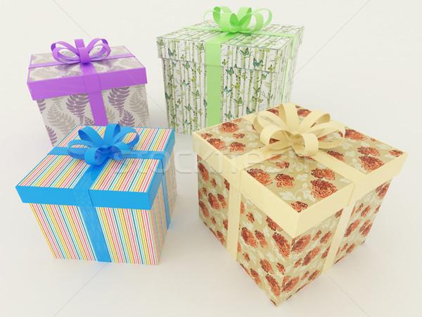 3d render ünnep ajándékok szalagok ajándékok ünnepek Stock fotó © danilo_vuletic