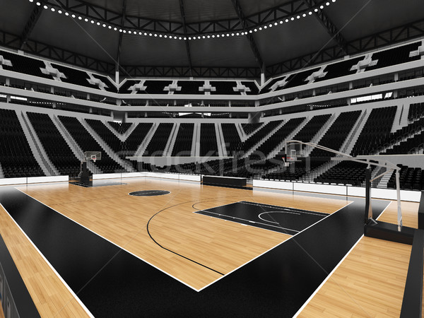 Beautiful sports arena for basketball with  black seats and VIP boxes for twenty thousand fans Stock photo © danilo_vuletic
