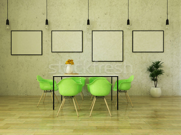 3D render of beautiful dining table with bright green chairs Stock photo © danilo_vuletic