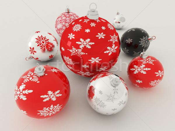 3dのレンダリング 赤 黒白 休日 装飾 ストックフォト © danilo_vuletic