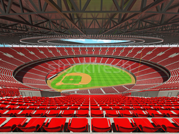 3D render of baseball stadium with red seats and VIP boxes Stock photo © danilo_vuletic